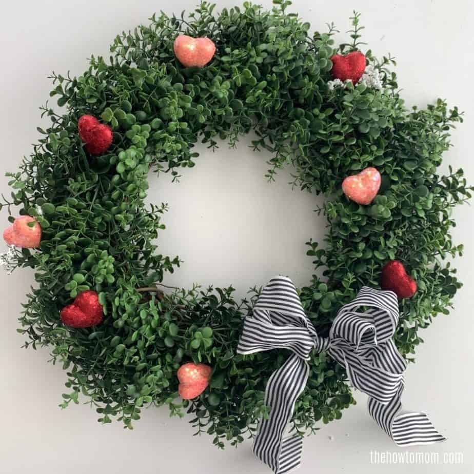 valentines day wreath with boxwood and hearts