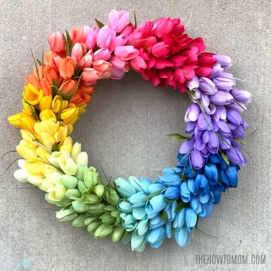 Colorful rainbow tulip wreath for spring