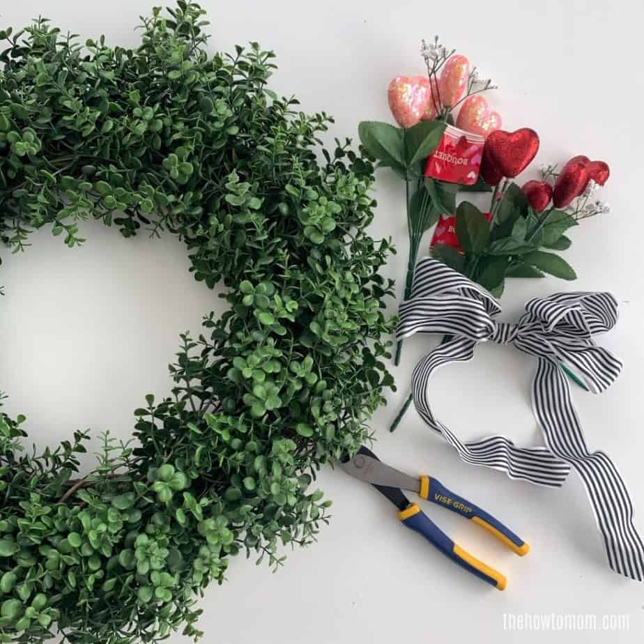 supplies needed to make a valentines day boxwood wreath