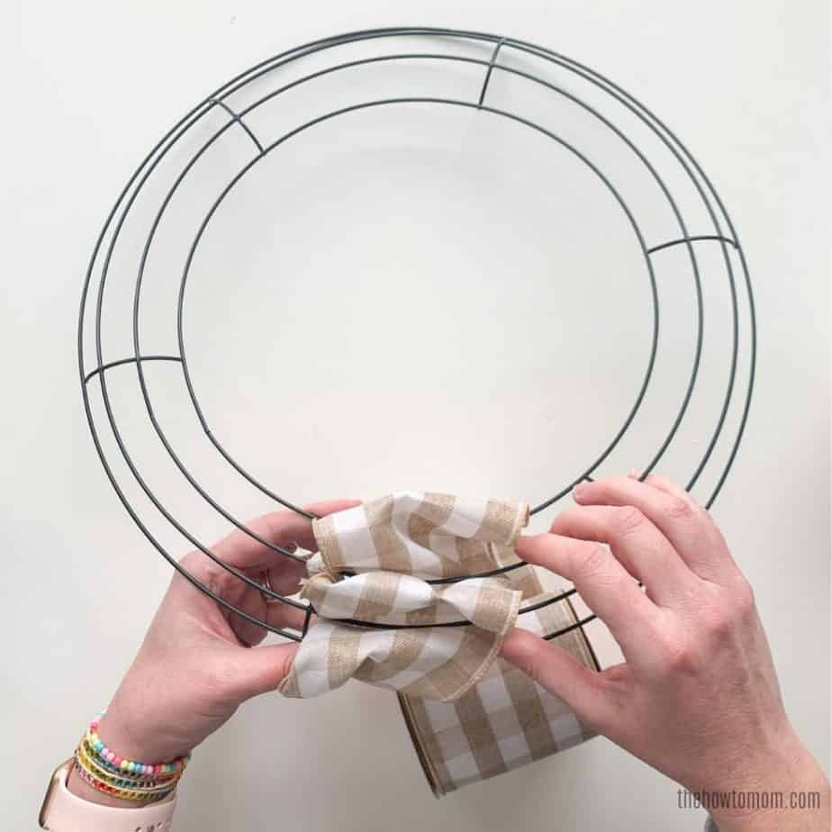 DIY Ribbon Wreath with buffalo check wired ribbon