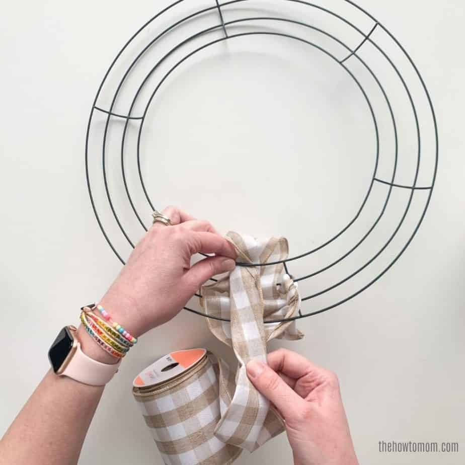 tan ribbon wreath tutorial