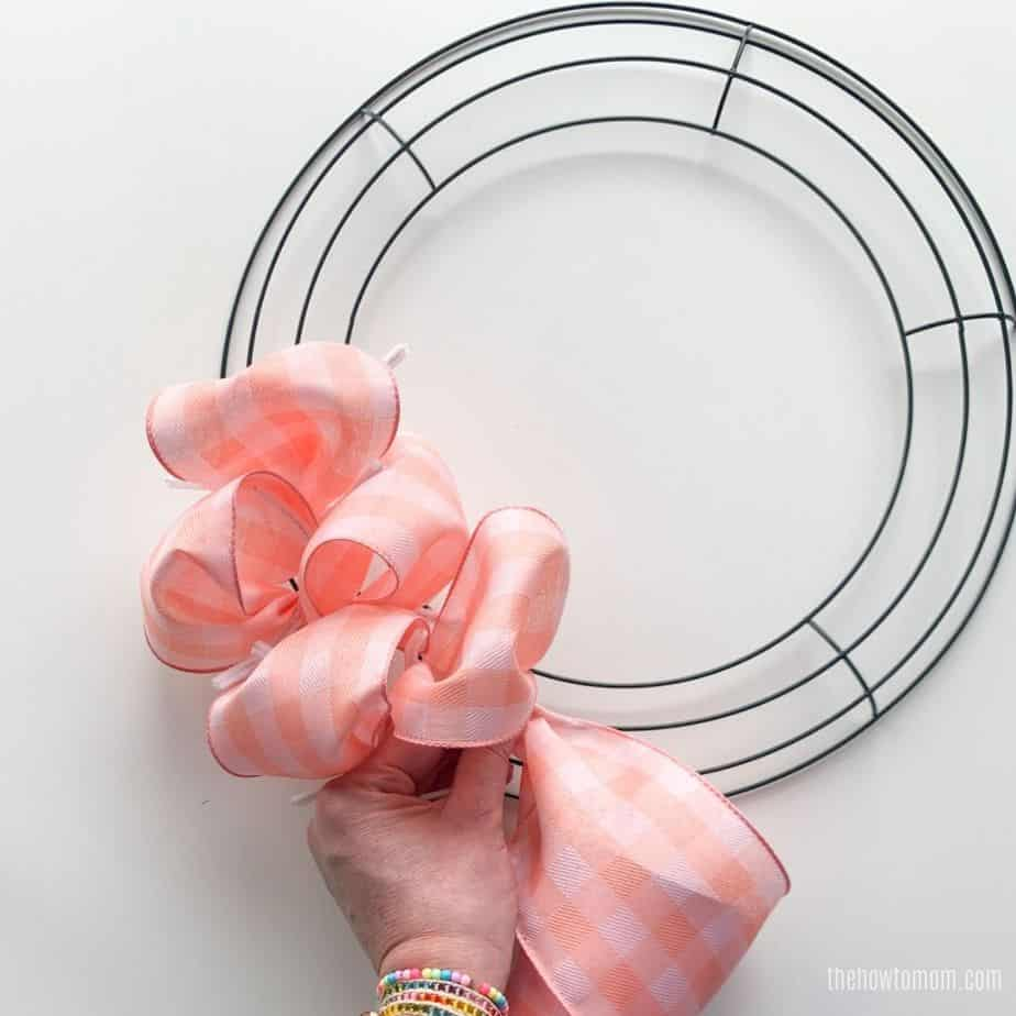 peach ribbon wreath