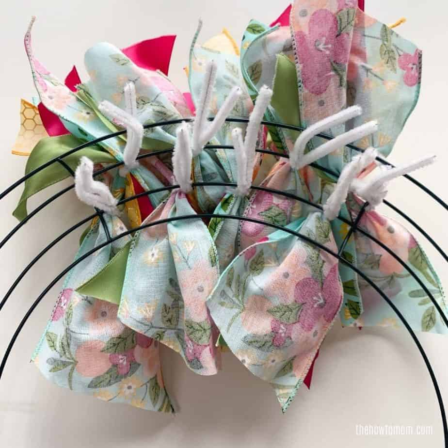 back of a wreath made with ribbon