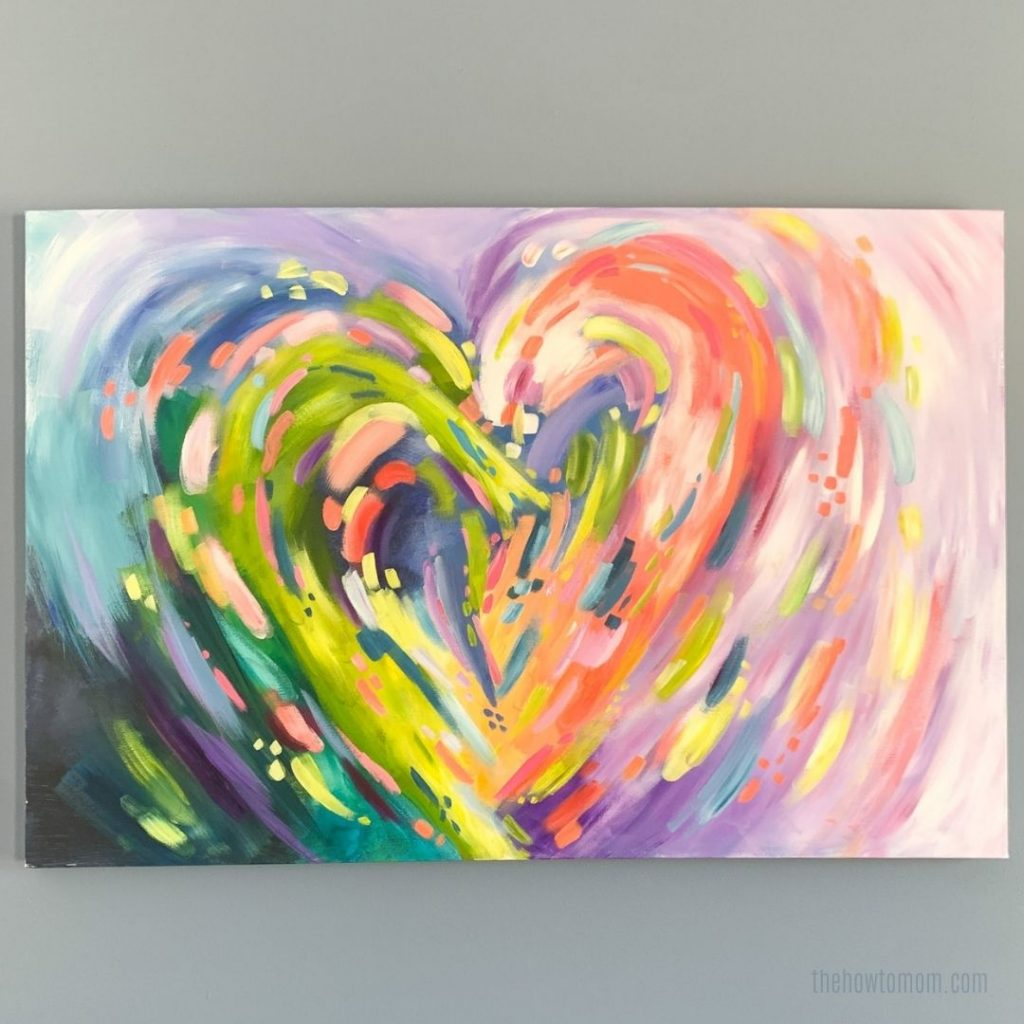 colorful abstract heart painting with acrylic paints