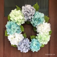 grey, green, teal and white hydrangea wreath