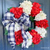 red white and blue hydrangea wreath with bow
